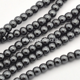 Sinthetic hematite bead, non magnetic, black, 4 mm, 1 strand (104 pcs)