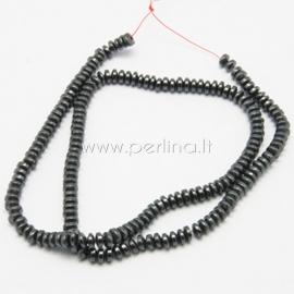 Sintetinis hematitas, karoliukas, juodas, 4x2,5 mm, 1 juosta (175 vnt.)
