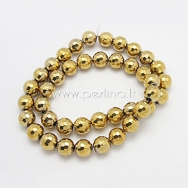 Synthetic hematite bead, faceted, golden plated, 10 mm, 1 pc