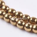Sintetinis hematitas, karoliukas, sendinto aukso sp., 4 mm, 1 juosta (100 vnt.)