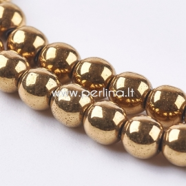Sinthetic hematite bead, golden plated, 4 mm, 1 strand (100 pcs)