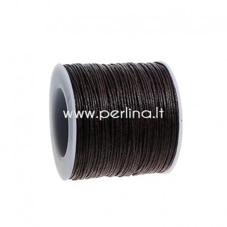 Vaškuota medvilninė virvelė, tamsi ruda, 1 mm, 1 m