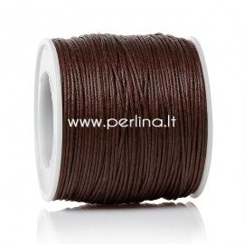 Vaškuota medvilninė virvelė, ruda, 1 mm, 91,44 m