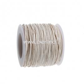 Vaškuota medvilninė virvelė, dramblio kaulo sp., 1 mm, 1 m