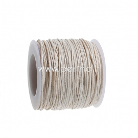 Wax cotton cord, off-white, 1 mm, 1 m