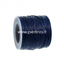 Vaškuota medvilninė virvelė, tamsi mėlyna, 1 mm, 1 m
