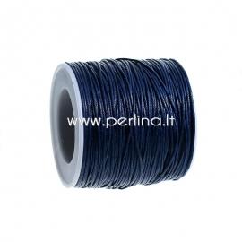 Wax cotton cord, deep blue, 1 mm, 1 m