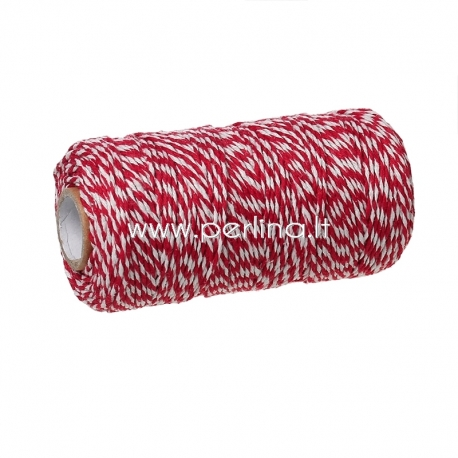 Medvilninė virvelė, raudona-balta, 1,5 mm, 1 m