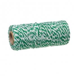 Medvilninė virvelė, žalia-balta, 1,5 mm, 1 m