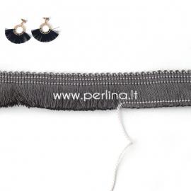 Polyester thread cord, grey, 25 mm, 10 cm