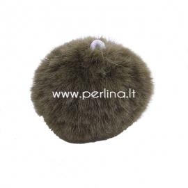 Plush pom pom ball with loop, dark green, 35 mm