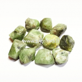 Natūralus peridotas, karoliukas, grynuolis, 23x21 - 16x14 mm, 1 vnt