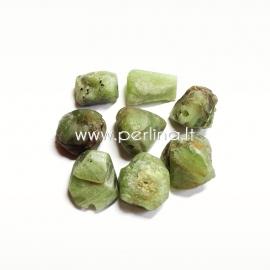 Natūralus peridotas, karoliukas, grynuolis, 17x13 - 14x10 mm, 1 vnt.