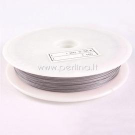 Tiger Tail Wire, light grey, 0.80mm, 20m