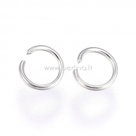 Open jump ring, 304 stainless steel, 4x0.5mm, 10 pcs