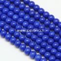 Stiklinis karoliukas, mėlynos sp., 8 mm, 1 juosta (apie 52 vnt.)