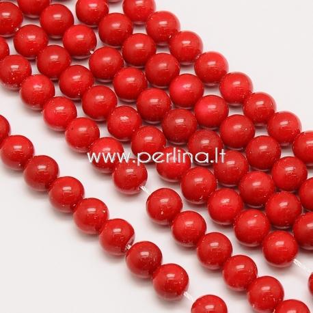 Stiklinis karoliukas, raudonos sp., 16 mm, 1 juosta (apie 26 vnt.)