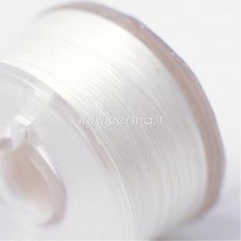 Poliesterio siūlas biseriui, pieno balta sp, 0,1 mm, 1 ritė (~45,7m)
