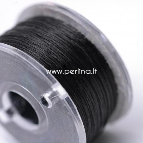 Poliesterio siūlas biseriui, juoda sp, 0,1 mm, 1 ritė (~45,7m)