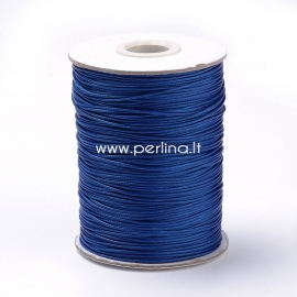 Vaškuota korėjietiška poliesterio virvelė, karališka mėlyna sp., 1 mm, 1 m