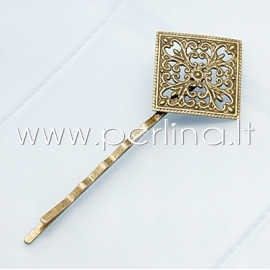Hair bobby pin with filigree, antique bronze, 66x26.5x4.5mm
