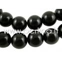 Natūralus agatas, karoliukas, dažytas, juodos sp., 16 mm, juosta 39 cm (apie 25 vnt.)