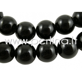 Natural agate gemstone bead, dyed, black, 16 mm, 1pc