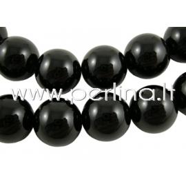 Natūralus agatas, karoliukas, dažytas, juodos sp., 16 mm, 1 vnt.