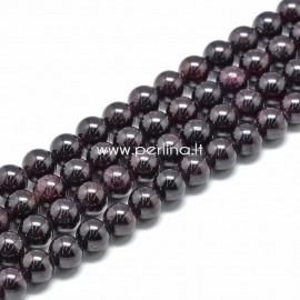 Garnet gemstone bead, round, 11~12 mm, 1 pc
