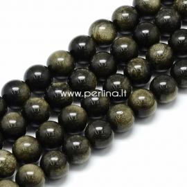 Auksinis obsidianas, karoliukas, apvalus, 10x9,5 mm, 1 vnt.