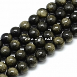 Golden sheen obsidiane bead, round, 10x9,5 mm, 1 pc