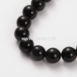 Obsidian bead, round, 10 mm, 1 pc