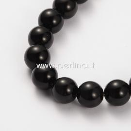 Obsidianas, karoliukas, apvalus, 10 mm, 1 juosta (~39 vnt.)
