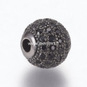 Metalinis karoliukas su cirkonio akutėmis, metalo sp., 10 mm, 1 vnt.