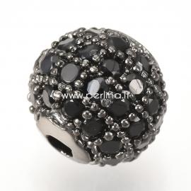 Micro pave cubic zirconia bead, gunmetal, 10mm, 1pcs
