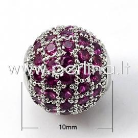 Micro pave cubic zirconia bead, platinum, 10mm, 1pcs