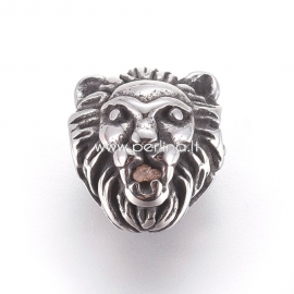 "Stainless steel bead ""Lion"", antique silver, 11.5x10x7mm, 1pcs"
