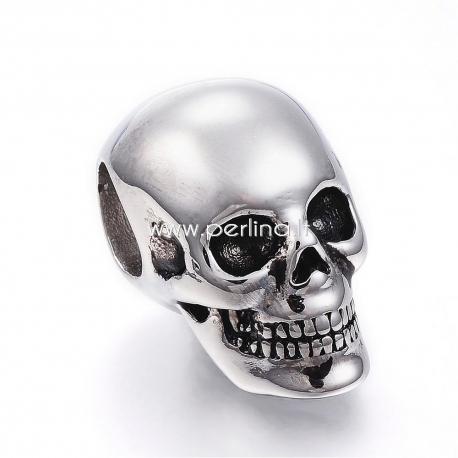 """Metalinis karoliukas """"Kaukolė"""", nerūdijantis plienas, 25x15x17,5mm, 1 vnt."""