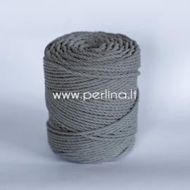 Sukta medvilninė virvė, tamsiai pilka sp., 3 mm, 250 m