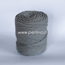 Twisted cotton cord, light grey, 4 mm, 160 m