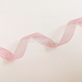 Organza ribbon, pink color, 10 mm, 1 m