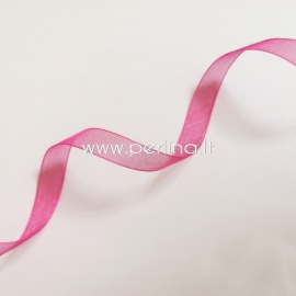 Organza ribbon, fuchsia color, 10 mm, 1 m