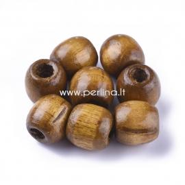 Medinis karoliukas, dažytas, kokoso ruda sp., 16x16~17 mm, 1 vnt.