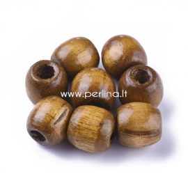 Wood bead, dyed, coconut brown color, 16x16~17 mm, 1 pc