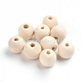 Wood bead, natural wood color, 20 mm, 1 pc