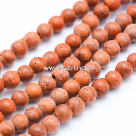 Natural sandalwood bead, dyed, red brick color, 8 mm, 1 pc