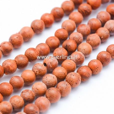 Natūralus santalmedis, karoliukas, dažytas, raudonų plytų sp., 8 mm, 1 vnt.