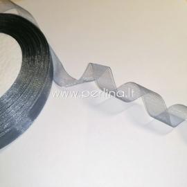 Organzos juostelė, pilka sp., 12 mm, 1 m