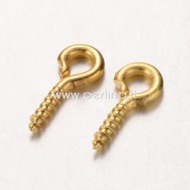 Screw eye pin peg bail, golden color, 8x4x1mm, 1pc