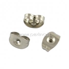 Earring post stopper, stainless steel, 5x3x2,5mm, 1 pair
